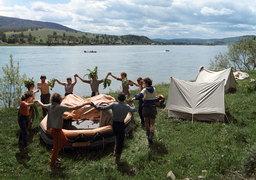 Туристы на реке Кизир, 1988 г.