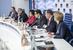 Участники второй дискуссии Сергей Шуляк, Виктор Дмитриев, Лариса Пак, Василий Бойцов, Владислав Шестаков, Елена Бричева