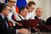 Премьер-министр Республики Крым Сергей Аксенов, председатель Совета министров Крыма Владимир Константинов, президент России Владимир Путин