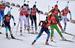 Слева направо: Вита Семеренко (Украина), Мари-Лор Брюне (Франция), Сьюзан Данкли (США), Яна Романова (Россия), Людмила Калинчик (Белоруссия) и Ева Пушкарчикова (Чехия) на дистанции эстафетной гонки в соревнованиях по биатлону среди женщин