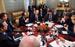 Председатель Еврокомиссии Жозе Мануэл Баррозу, британский премьер Дэвид Кэмерон, президент Франции Франсуа Олланд, президент России Владимир Путин, премьер-министр Италии Маттео Ренци, президент Украины Петра Порошенко и канцлер Германии Ангела Меркель