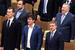 Михаил Дегтярев, Владимир Жириновский и другие члены фракции ЛДПР во время исполнения гимна