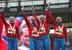 Татьяна Фирова, Ксения Рыжова, Юлия Гущина и Антонина Кривошапка завоевали золото в финале эстафетного забега 4x400 м.