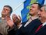 Кандидаты на пост мэра Москвы Сергей Митрохин, Михаил Дегтярев и Иван Мельников (слева направо) во время митинга против строительства торгово-развлекательного комплекса на месте ландшафтного парка в районе Митино