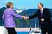 Владимир Путин и почетный гость XVII ПМЭФ, канцлер Германии Ангела Меркель перед началом пленарного заседания