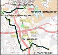 Схема прохождения пилотных веток скоростного трамвая на юге Московского региона