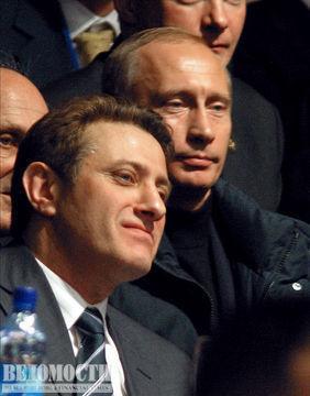 Борис Ротенберг и Владимир Путин во время финала командных соревнований по дзюдо на Кубке президента России
