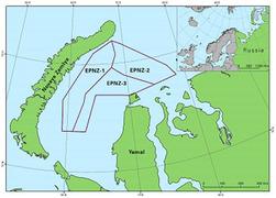 """Карта расположения лицензионных участков """"Роснефти"""" в южной части Карского моря"""