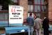 Щит у офиса братьев Мавроди на Варшавском шоссе, информирующий о якобы возвращенных деньгах с помощью лотереи,1997 год