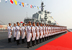 Церемония подъема военно-морского флага ВМС НОАК на авианосца «Ляонин».
