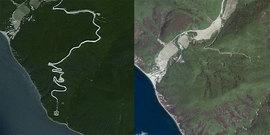 Местность до и после начала строительства. Источники: Bing, Google