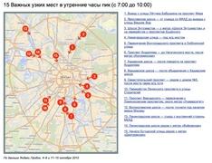 15 Важных узких мест в утренние часы пик (с 7:00 до 10:00) (yandex.ru)