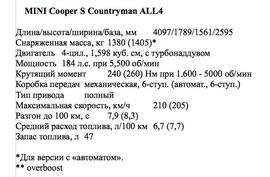 Технические характеристики MINI Cooper S Countryman ALL4
