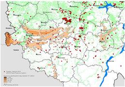 """Карта радиоактивного загрязнения Европейской России с наложенными очагами пожаров, """"Гринпис"""""""