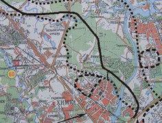 Генерализованный план трассы через Химкинский лес (трасса нанесена сплошной черной линией). Источник: Ecmo.ru