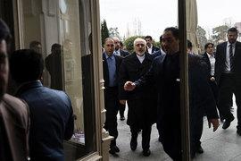 Министр иностранных дел Ирана Джавад Зариф прибывает на переговоры в Лозанне