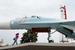 Су-27, установленный напротив павильона «Космос» на ВДНХ. Самолет, был выпущен в 1987 г. на Комсомольском-на-Амуре авиационном заводе и эксплуатировался на базе ВВС в Кубинке