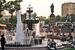 Пушкинский фонтан построен в 1950 г. рядом с памятником главному русскому поэту на Пушкинской площади. Его чаши, выполненные из камня в классическом стиле, для своего времени были одними из самых больших. Насосы фонтана находились в подвале дома неподалёку, но после того, как жильцы стали жаловаться на шум, были перенесены в отдельное здание