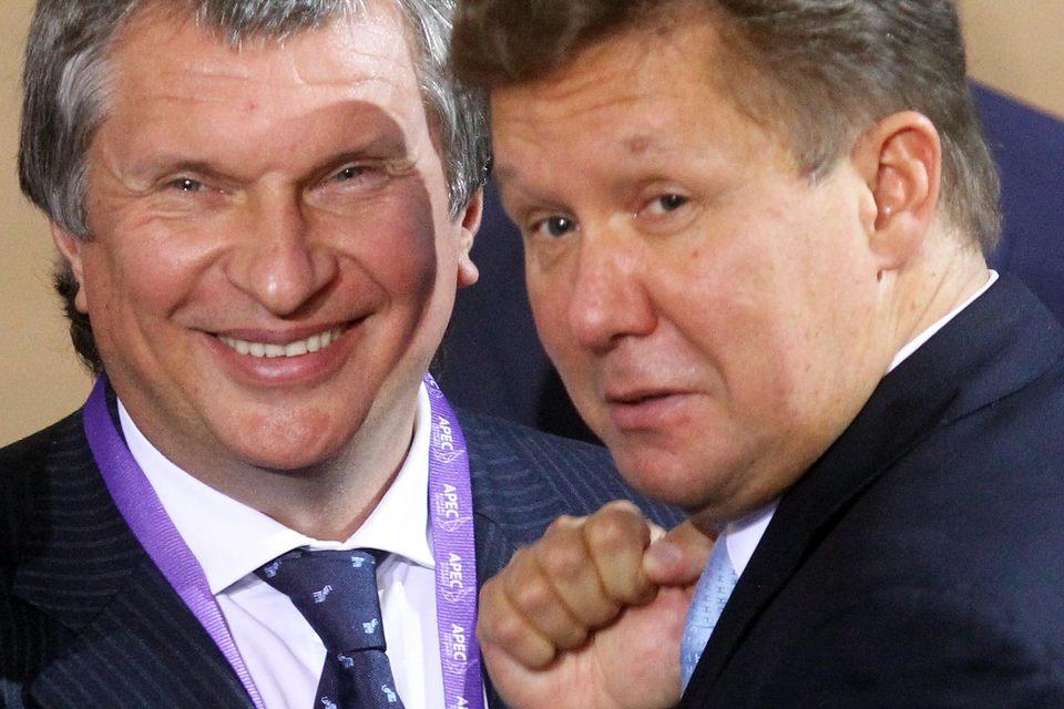 Руководители «Роснефти» и «Газпрома» Игорь Сечин и Алексей Миллер могут побороться за газ независимых производителей