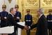 С 2001 до 2011 г. Примаков возглавлял Торгово-промышленную палату России. На фото президент Владимир Путин вручает Примакову государственную премию за выдающиеся достижения в области гуманитарной деятельности (2014 г.)