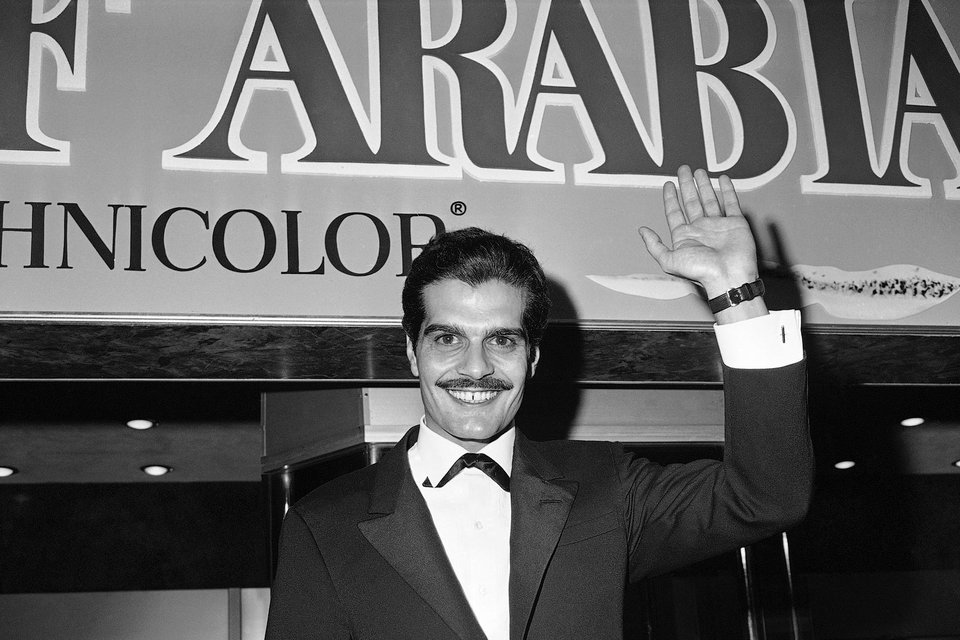 Актер Омар Шариф на премьере фильма «Лоуренс Аравийский», 1962 г.
