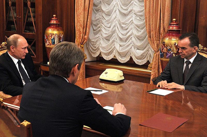 Вениамин Кондратьев (справа) и Владимир Путин