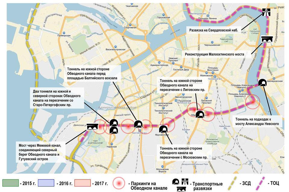 Окупить часть затрат на тоннели и мосты ЛСР расчитывает за счет платных парковок на Обводном канале