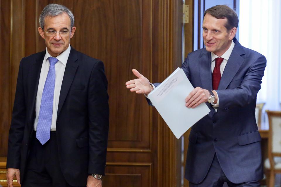 Депутат Национального собрания Франции Тьерри Мариани и председатель Госдумы Сергей Нарышкин