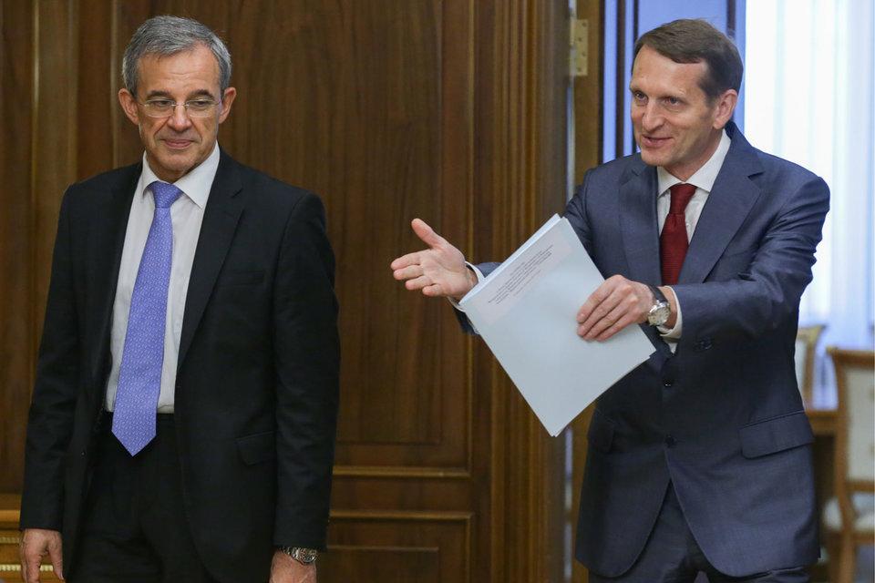 Визит делегации во главе с Тьерри Мариани (слева) вдохнул в Сергея  Нарышкина новые надежды