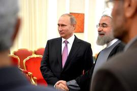 Президент России Владимир Путин и президент Ирана Хасан Рухани перед началом российско-иранских переговоров