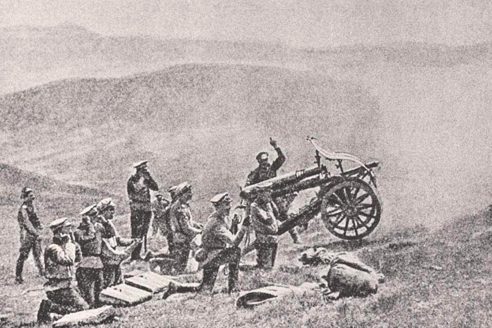 В начале XX в. спор России и Турции был частью мировой войны. Нафото: русская горная артиллерия на Кавказском фронте