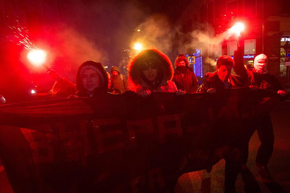 Одним из нарушений Ильдара Дадина стало участие в акции на Мясницкой улице (на фото)