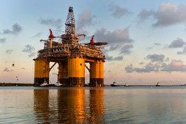 Royal Dutch Shell, как и другие компании, продолжает разрабатывать шельфовые месторождения в Мексиканском заливе несмотря на упавшие цены на нефть (на фото: принадлежащая Shell нефтяная платформа Olympus у побережья Техаса)