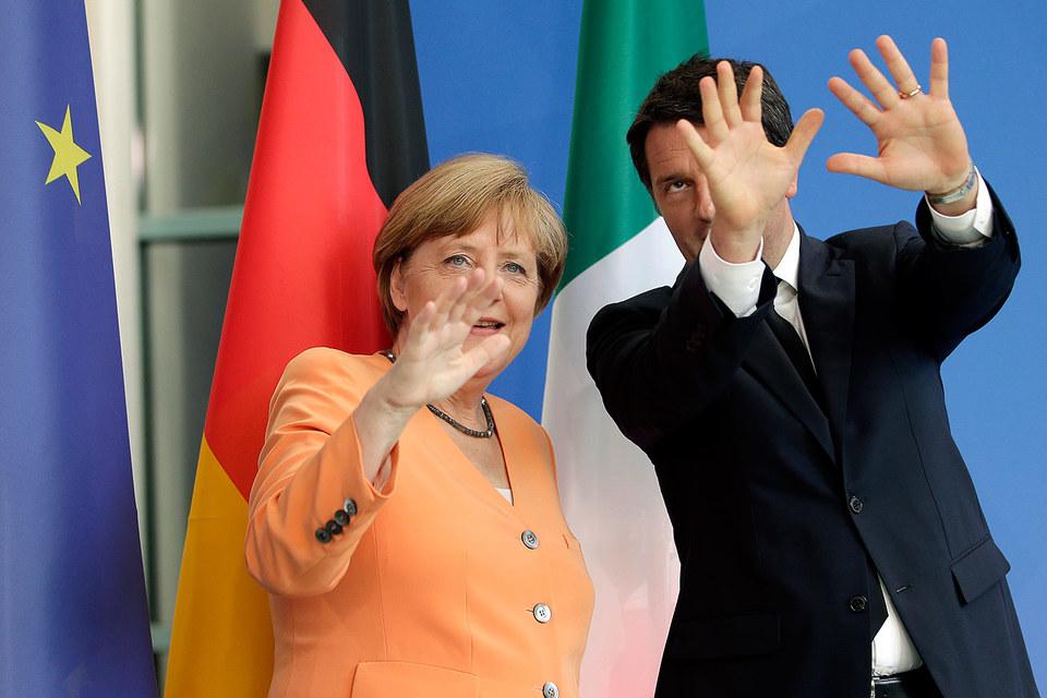 Канцлер Германии Ангела Меркель и премьер-министр Италии Маттео Ренци