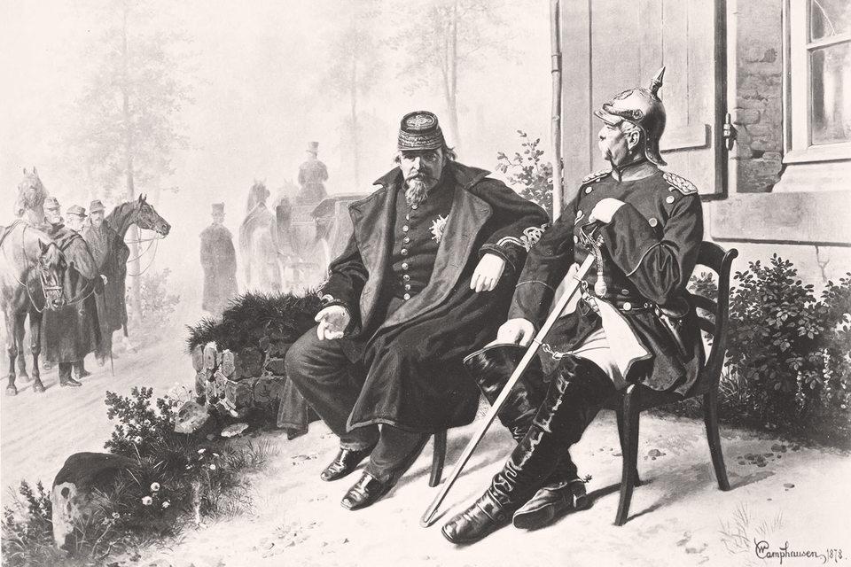 Поднявшаяся с колен империя быстро проиграла войну Пруссии, асам Наполеон III сдался в плен. Картина изображает его беседу сканцлером Бисмарком