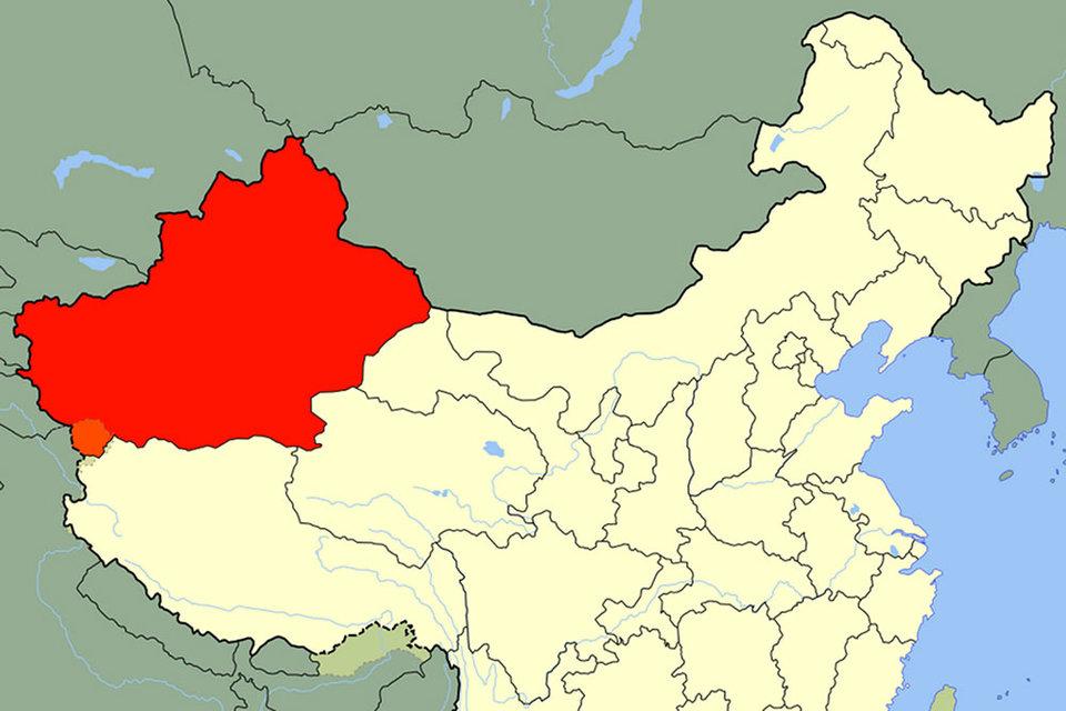 Современный Синьцзян-Уйгурский автономный район на карте