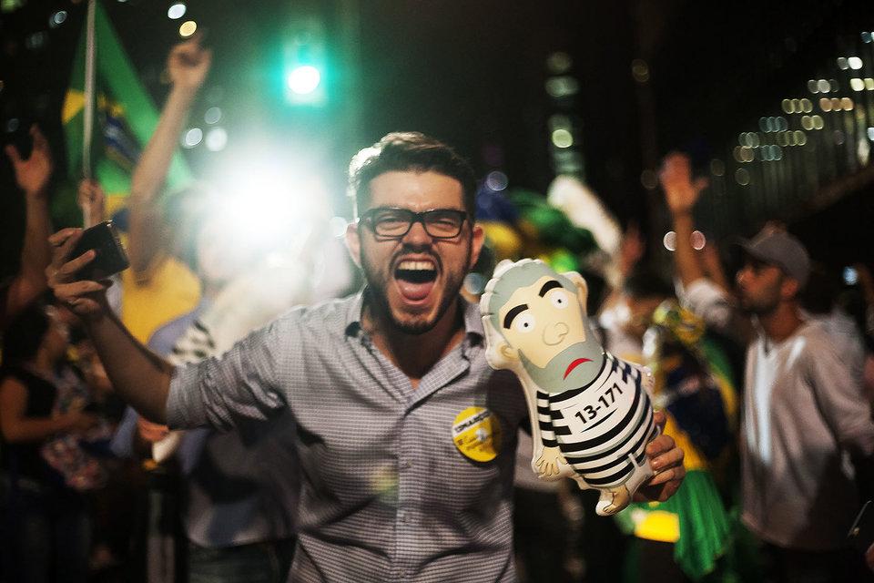 Акция против назначения экс-президента Бразилии Луиса да Силвы на пост главы президентской администрации
