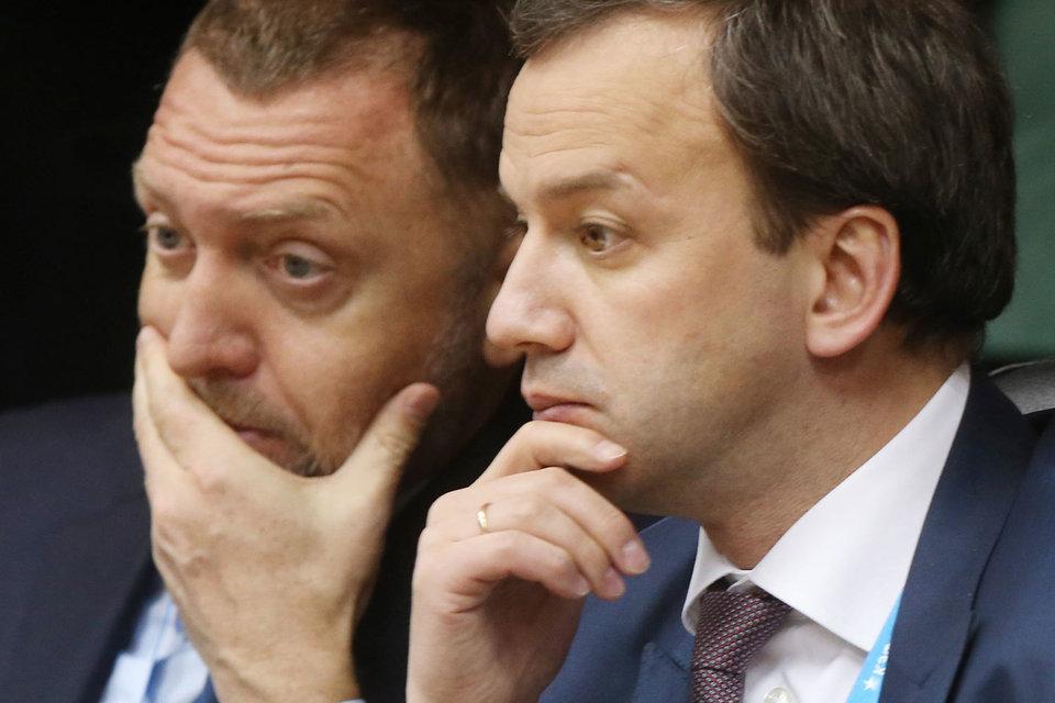 Президент «Русала» Олег Дерипаска и вице-премьер Аркадий Дворкович
