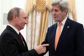 Владимир Путин и Джон Керри во время встречи в Кремле