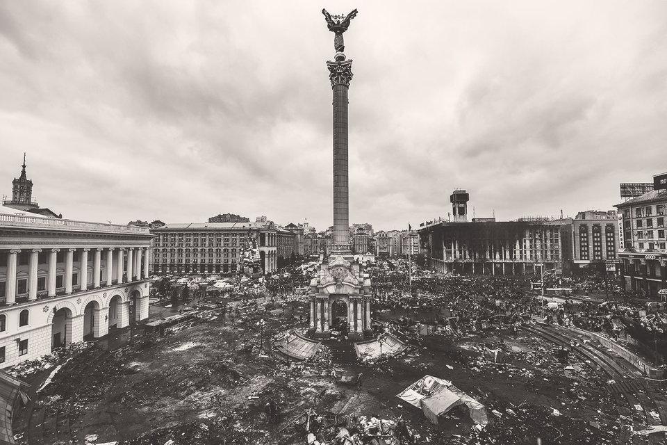 Центр Киева в феврале 2014 г.