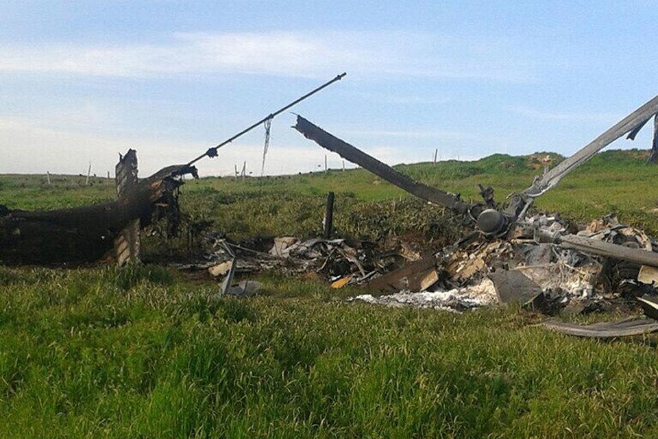 Обломки сбитого в Нагорном Карабахе азербайджанского вертолета
