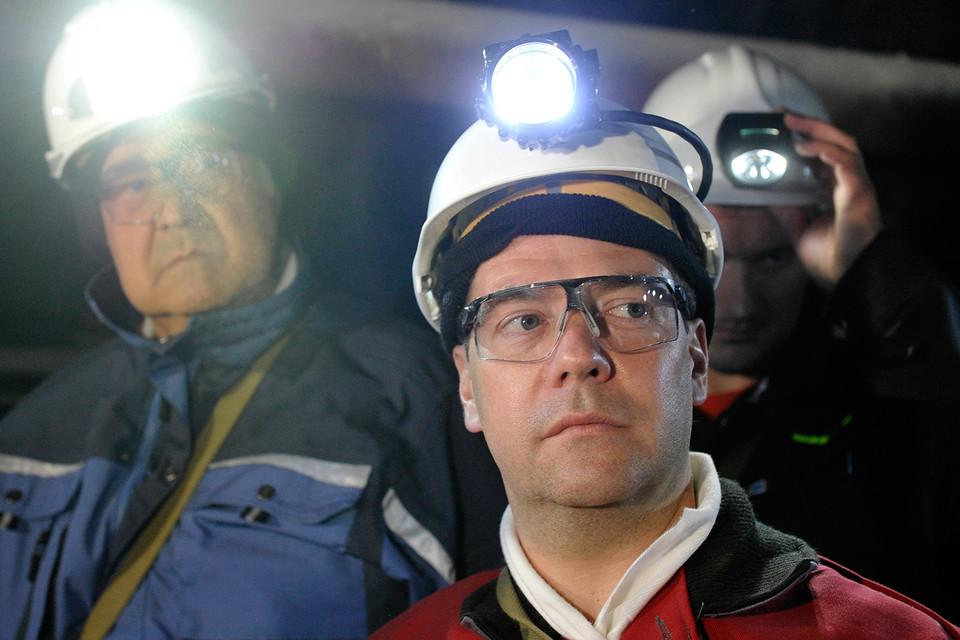 Аман Тулеев и Дмитрий Медведев в шахте «Листвяжная»
