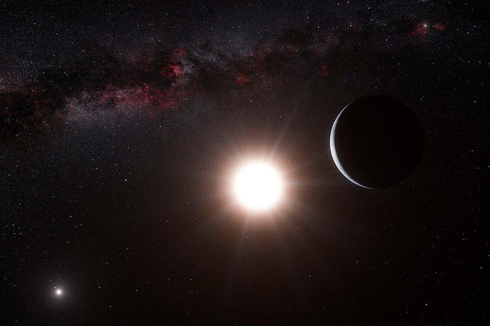 Рисунок, показывающий гипотетическую планету на орбите звезды альфа Центавра B