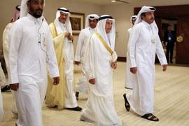 Делегация Саудовской Аравии на встрече в Дохе. Второй справа - министр нефти Али ан-Нуайми