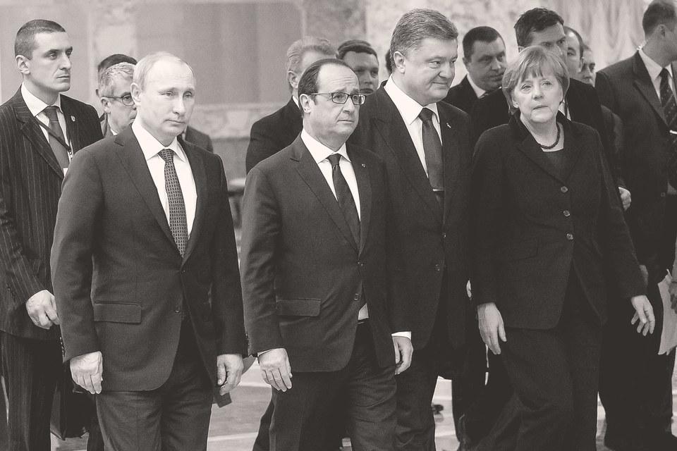 Роль России в разрешении многих конфликтов может быть огромной, но заслуг пока особых нет. На фото: «нормандская четверка» в Минске, февраль 2015 г.