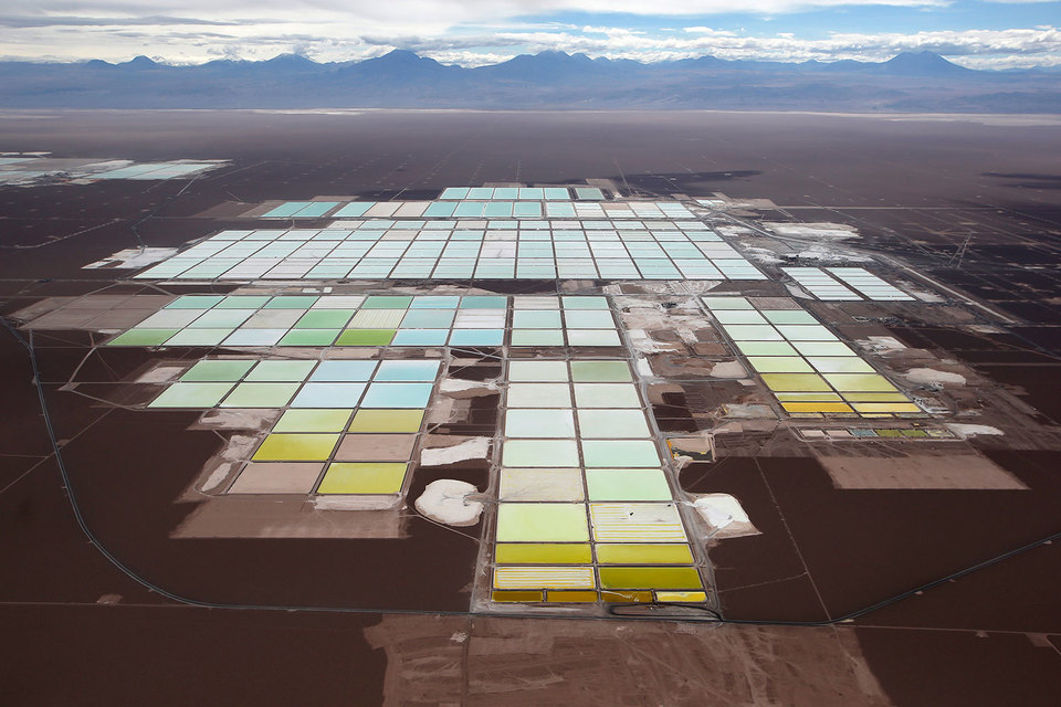 Зона обработки лития на месторождении в Чили