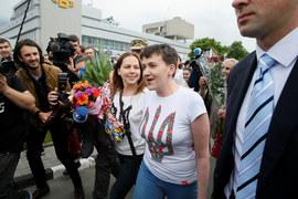 Надежда Савченко в аэропорту «Борисполь»