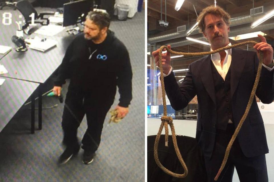 Фотографии, приложенные к иску: Афшин Пишевар с веревкой в руке и Броган Бэмброган нашел удавку на рабочем месте