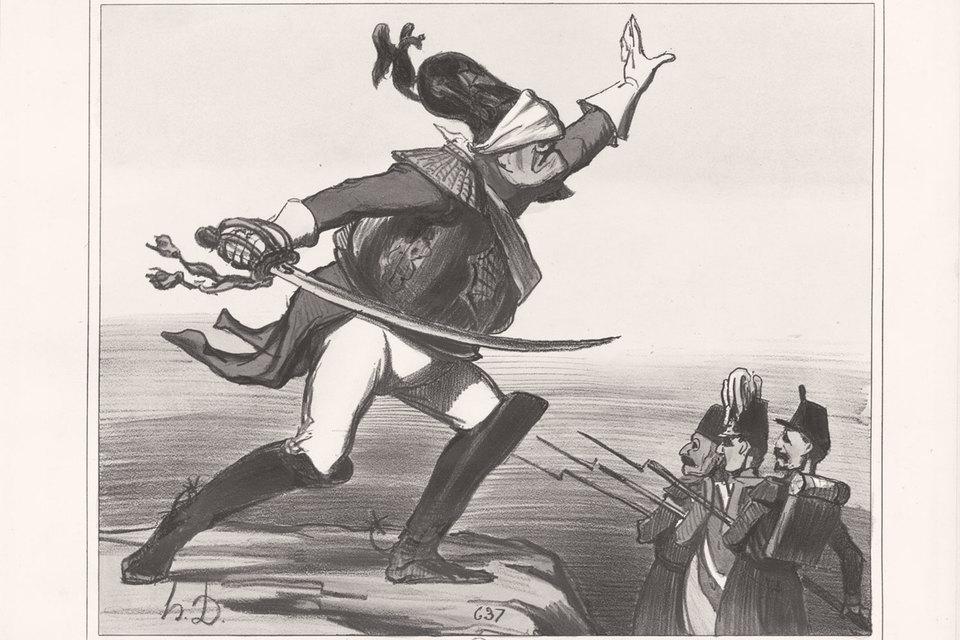 Западная карикатура зло смеялась над русскими. Подпись: «Русские жмурки – игра новая, но опасная»