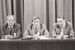 Министр внутренних дел СССР Борис Пуго, вице-президент СССР Геннадий Янаев, зампредседателя Совета оборонны Олег Бакланов на пресс-конференции ГКЧП